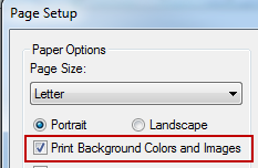 In IE Go To Page Setup And Make Sure Print Background Colors Images Is Selected